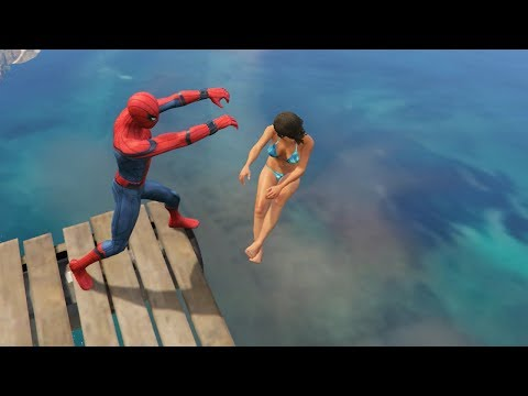GTA 5 Water Ragdolls Spiderman ep.12 (Euphoria physics)