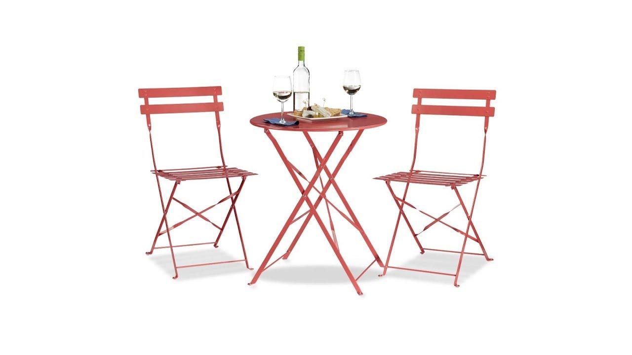 Bistrotisch Mit 2 Stühlen Klappbar Aus Metall Kaufen