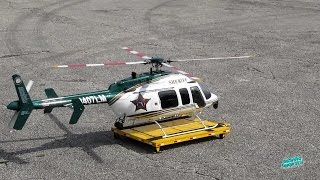 RC Orange County Florida Sheriff Bell 407 Scale Helicopter with Hanger Dolly