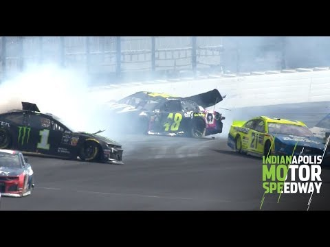 Jimmie Johnson's NASCAR Playoffs hopes end with hard wreck: Monster Energy Series at Indianapolis