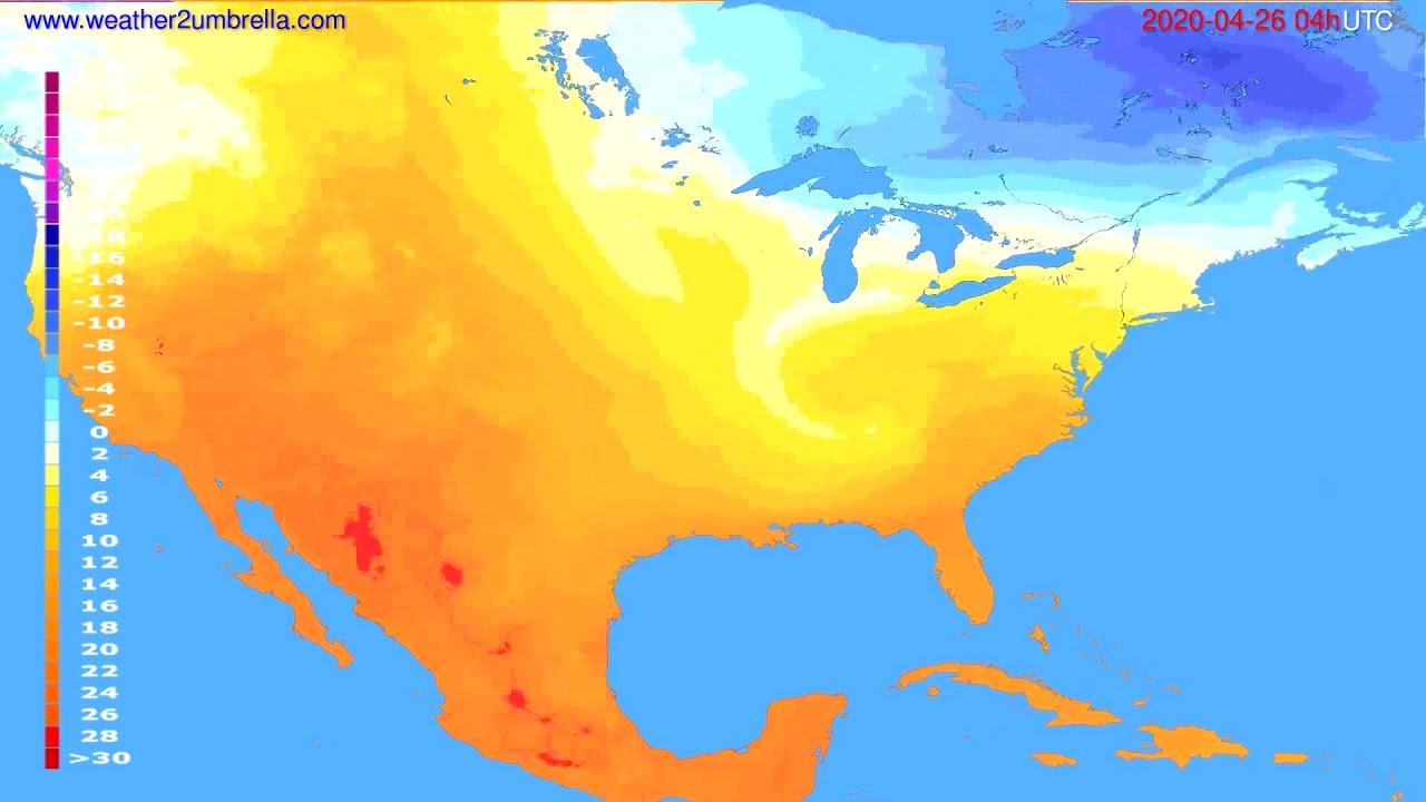 Temperature forecast USA & Canada // modelrun: 12h UTC 2020-04-25