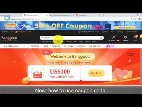 , title : 'Banggood new user coupon code'