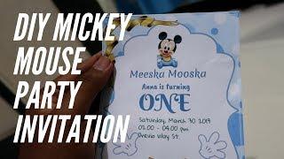 DIY Mickey Mouse First Birthday Invitation Step By Step