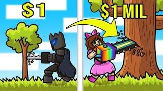 Minecraft: 1 DOLLAR CHAINSAW VS 1,000,000 DOLLAR CHAINSAW!!! Crafting Mini Game