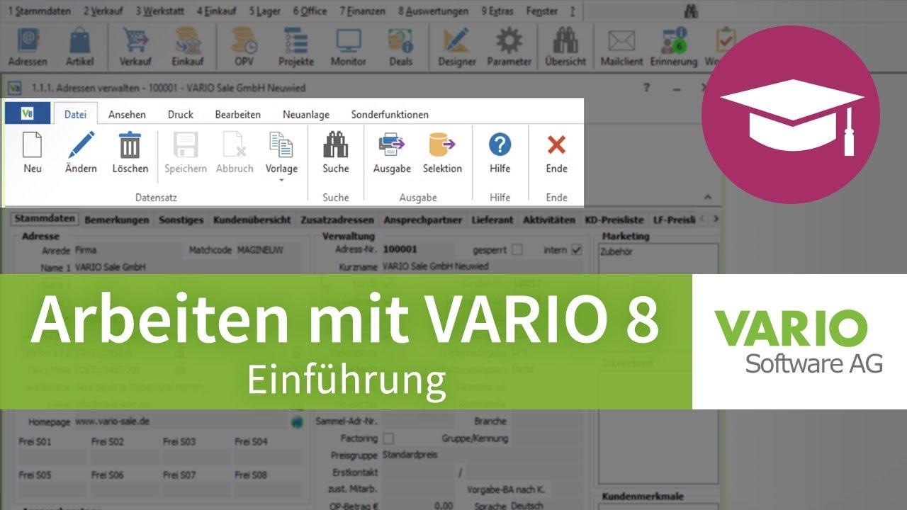 Arbeiten mit VARIO 8 – Grundlagen