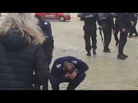 Wind Blows Sand In Riot Police's Face [Funny As Hell]