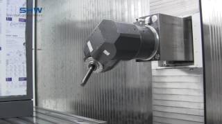 Automatic universal milling head with continuously positioning axes