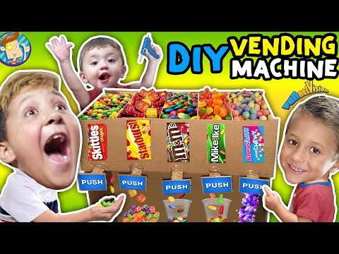 DIY Cardboard Candy Dispenser Vending Machine! SKITTLES, M&Ms, STARBURSTS + More |FUNnel Vision