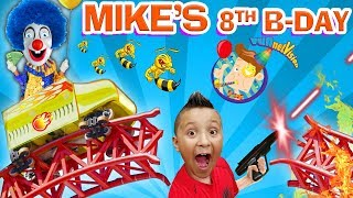 MIKE'S 8th BIRTHDAY! Roller Coaster Bottle Flip Arcade Madness! FUNnel Vision Theme Park Playti