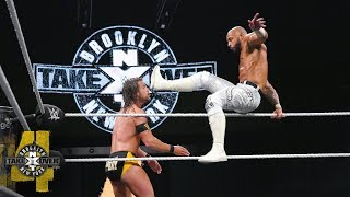 Ricochet's leaping hurricanrana launches Cole off the ring: NXT TakeOver: Brooklyn IV (WWE Network)
