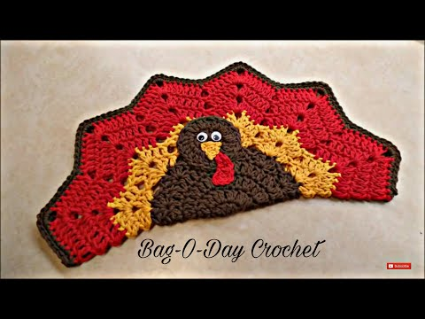 CROCHET How To #Crochet Easy Turkey Placemat or Decoration Potholder HotPad TUTORIAL #343 LEARN
