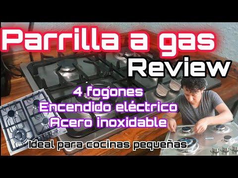 REVIEW PARRILLA A GAS acero Inox 4 fogones, económica para cocinas pequeñas😱