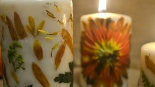 🍂🍁DIY: Pressed Flowers Candle *EASY*🍁🍂