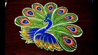 simple peacock rangoli designs for diwali | easy kolam designs with out dots | free hand muggulu