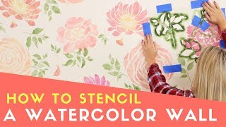 How To Paint A Watercolor Wallpaper Look Using Acrylic Paint And Stencils [FULL TUTORIAL]