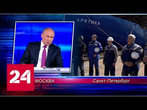 Вопрос про Арктику. Путин назвал Арктику важнейшим регионом. Прямая Линия 15 июня 2017