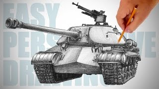 How To Draw A Tank IS3  Easy Perspective Drawing 21