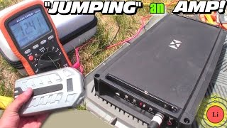 """""""JUMPING"""" a Car Audio Amplifier w/ 12v Lithium Booster PACK & BASS Testing 1Byone Starter Battery"""
