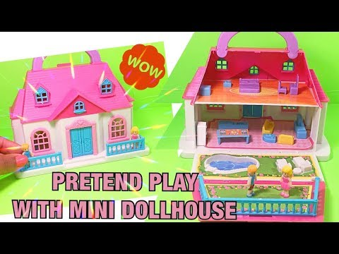 Pretend Play with Mini Dollhouse learning common words colors and more!