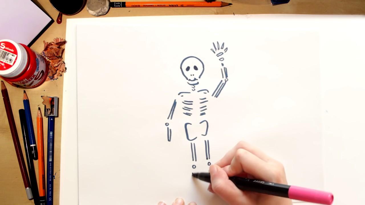 Como desenhar um esqueleto - desenhos de Halloween para crianças