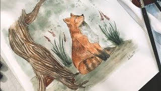 How To Draw Watercolor Fox Fairytale Forest Vintage Illustration - Draw With Me