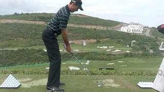 Charl Schwartzel - Golf Swing with Iron,Down the Line.
