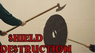 Plywood shield vs broadsword, katana, axe, kriegsmesser, and war hammer