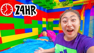 24 HOUR CHALLENGE IN HUGE LEGO HOUSE!!