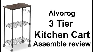 Alvorog 3 Tier Kitchen Cart Assembly And Review.Storage Cart On Wheels