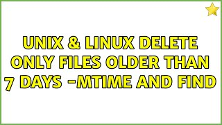 Unix & Linux: Delete only files older than 7 days: -mtime and find