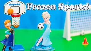FROZEN Disney Queen Elsa and Princess Anna Play Soccer and Basketball Toys Video Parody