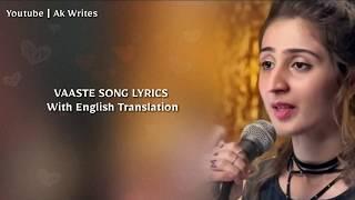 Vaaste ( Lyrics ) English Translation | Dhvani Bhanushali