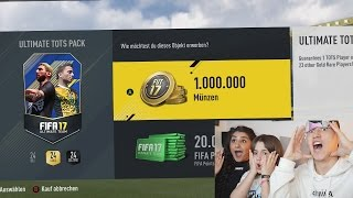 OMG 1.000.000 COINS TOTS PACK MIT FREUNDIN & SCHWESTER 😱⛔️ FIFA 17 PACK OPENING