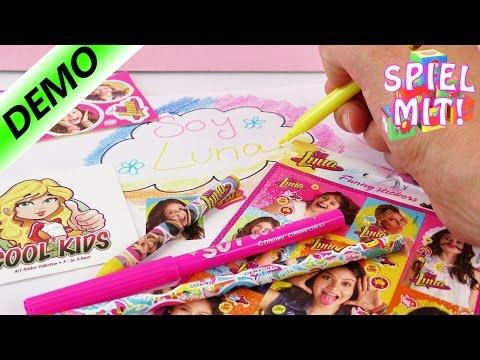 Soy Luna Disney | Schreibset mit 17 Teilen | Filzstifte Buntstifte Sticker Notizblock | Demo