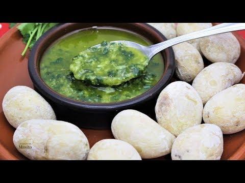 """Patatas arrugadas o """"arrugás"""" receta Canaria, con mojo verde casero"""