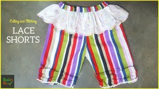 Lace Shorts (kids) Cutting And Stitching In Hindi