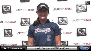 2022 Lauren Asia 3.95 GPA - Athletic Outfield and Catcher Softball Skills Video - Ca Breeze Birch