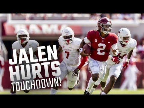 Alabama's Jalen Hurts scores on 55-yard run against Fresno State