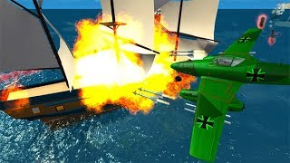 Beamng drive War - Airplanes Rockets Against Pirate Ship Crashes