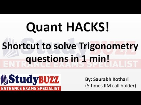 Quant HACKS- Shortcut to solve Trigonometry questions in 1 minute