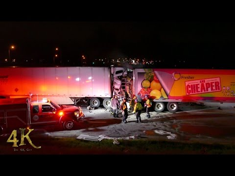 Milton: High velocity crash between two tractor trailers 10-25-2016