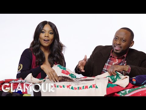 Gabrielle Union Tries On Ugly Christmas Sweaters | Glamour