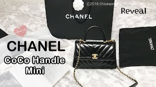 CHANEL REVEAL Chevron CoCo Handle Mini Flap Black