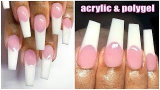 Natural Pink & White Perfect French Tip Nails💅Step By Step W Filing
