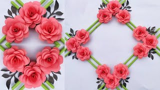 Diy Home Decor Craft Idea 🌺 Homemade Paper Flowers Wall Hanging 🌸 Origami Flower Rose Wall Art
