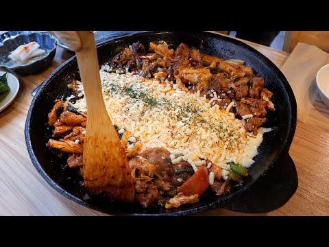 무쇠철판! 치즈 폭탄 닭갈비 / cheese bomb spicy stir fried chicken – korean dakgalbi