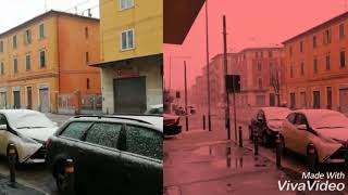 Raining and snowing bologna italy