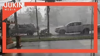 Storm Causes Electric Wire to Spark