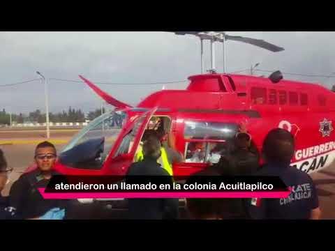 Helicóptero El Guerrero traslada a menor con quemaduras a hospital de la CDMX
