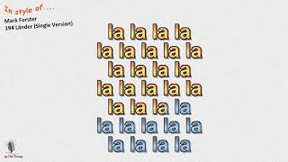 Mark Forster   194 Länder (Single Version) Instrumental Und Karaoke